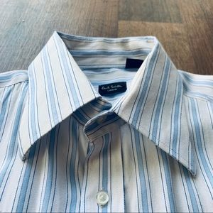 Paul Smith Shirts - Paul Smith Handcrafted White & Blue Dress Shirt